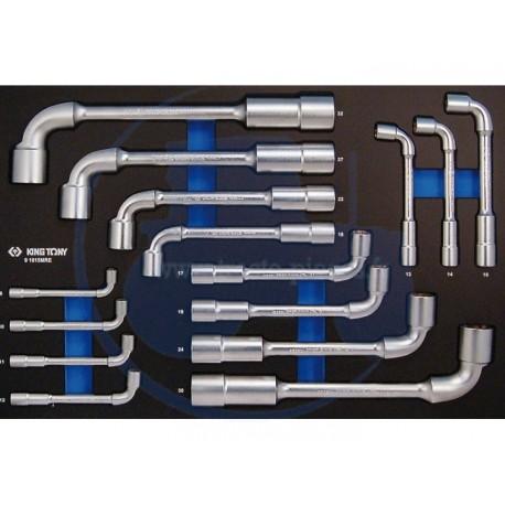 Plateau EVAWAVE de de clés à pipe 6x12 pans - 15 pièces - KING TONY