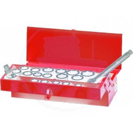 Caisse à outils de douilles 3/4 à choc métriques et accessoires - 19 pièces - KING TONY