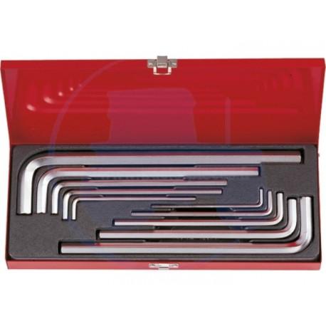 Coffret de clés mâles 6 Pans extra longues métriques - 10 pièces - KING TONY