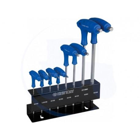 Jeu de clés mâles 6 pans à poignée en L avec tête sphérique métrique sur présentoir - 8 pièces - KING TONY