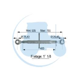 TROISIEME POINT longueur mini 535 maxi 795 mm pour tracteurs Divers