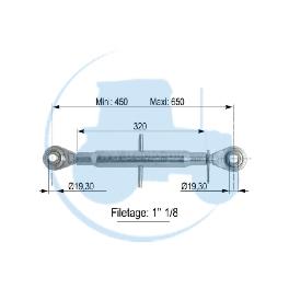 TROISIEME POINT longueur mini 450 maxi 650 mm pour tracteurs Divers