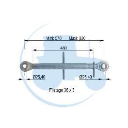 TROISIEME POINT longueur mini 570 maxi 800 mm pour tracteurs Divers