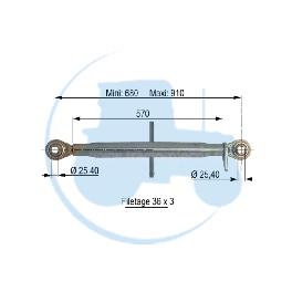 TROISIEME POINT longueur mini 680 maxi 910 mm pour tracteurs Divers