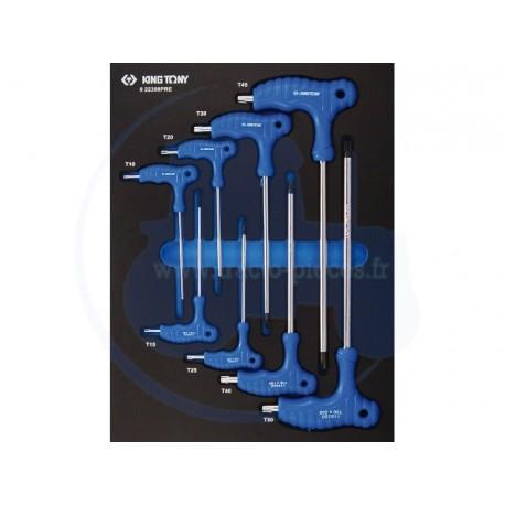 Plateau EVAWAVE de clés mâles TORX® et RESISTORX® - 8 pièces - KING TONY