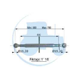 TROISIEME POINT longueur mini 580 maxi 780 mm pour tracteurs Divers