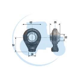 ROTULE A SOUDER diamètre intérieur 22 mm pour tracteurs Divers