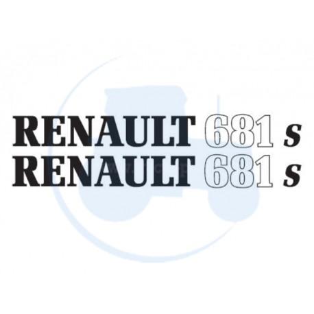 JEU DE 2 AUTOCOLLANTS pour tracteur RENAULT 681 S