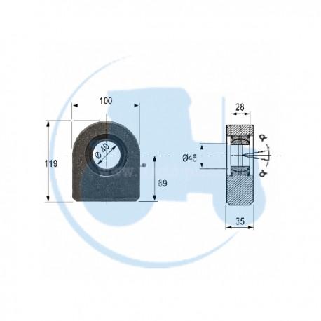 ROTULE A SOUDER diamètre intérieur 40 mm pour tracteurs Divers